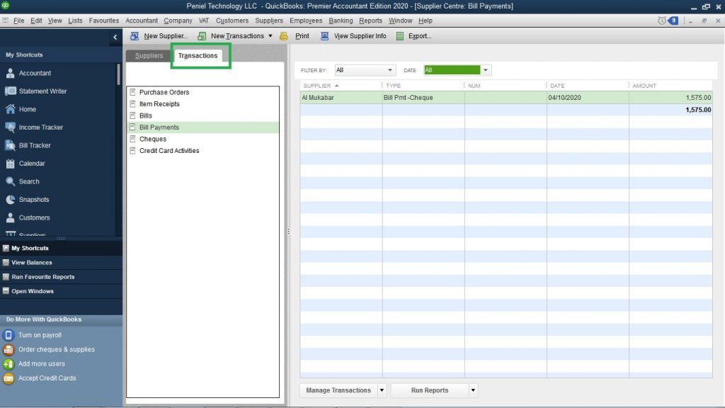 Create purchase orders in QuickBooks Desktop UAE
