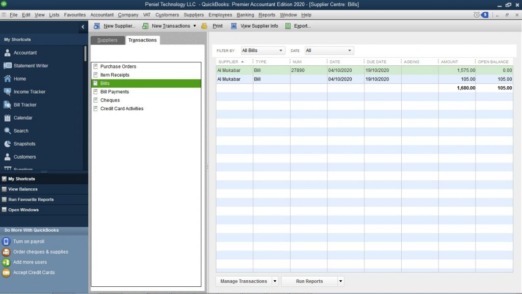 How to Create Supplier Bill in QuickBooks