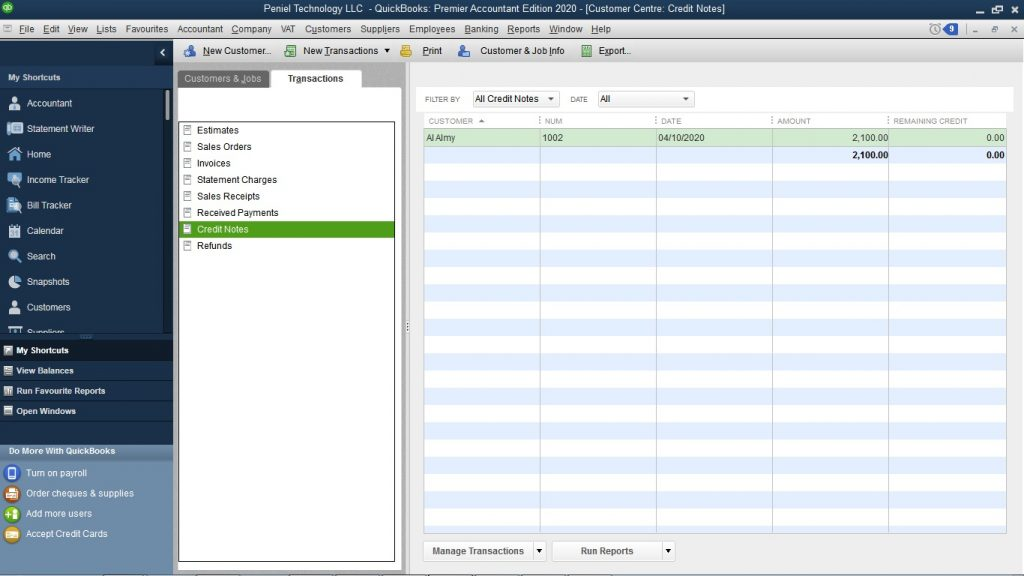 how to raise a credit note on quickbooks?