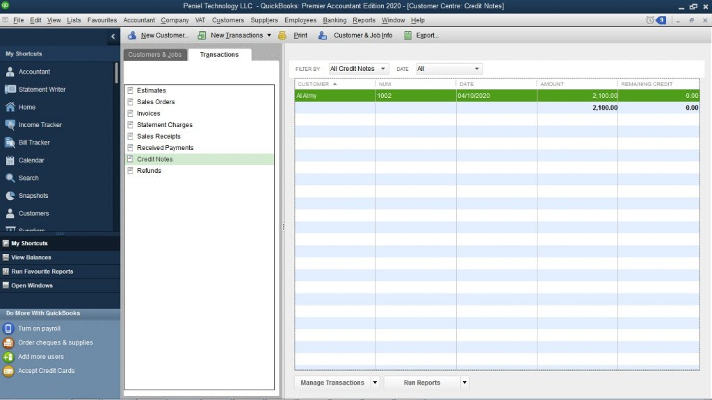 How to Enter a Credit Memo in QuickBooks UAE?