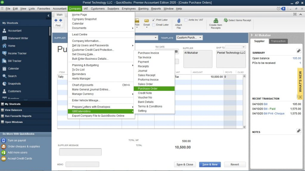 QuickBooks Purchase order Customization in QuickBooks